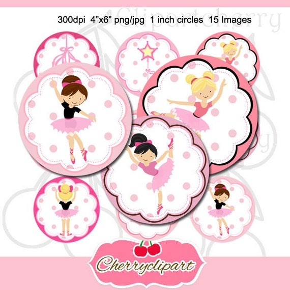 Little Ballet Dancer 1 inch Circles Round Graphics Digital Collage 4x6-15 images