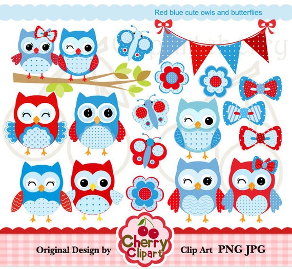 Red Blue cute owls and butterflies digital clipart set  for-Personal and Commercial Use-Card Design, Scrapbooking, and Web Design