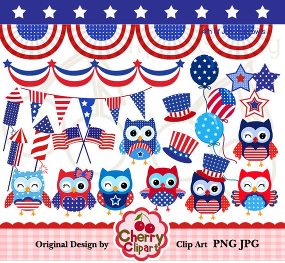 4th of July cute owls digital clipart set for-Personal and Commercial Use-Card Design, Scrapbooking, and Web Design