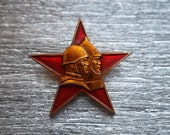 """Rare soviet army military patriotic pin badge sign """"Red star russian soldier"""" WW2 victory over nazi- 100 % original"""