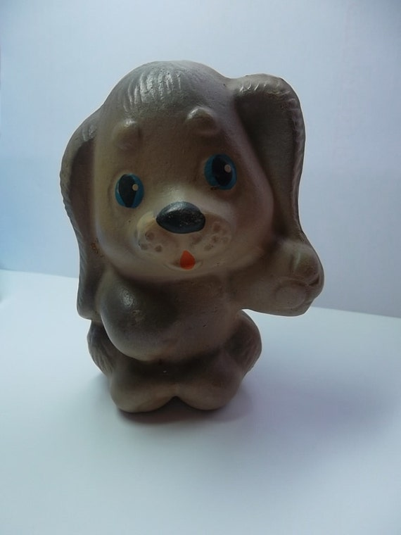 """Vintage rubber toy  """"A sad dog"""", a character  children's cartoon. Made in the USSR."""