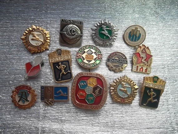 set 14 soviet pin badges pinbacks on the sport theme - Olympic Games - BGTO - soldier sport class. Made in the USSR.