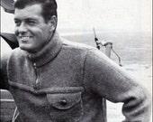 No.190 PDF Vintage Knitting Pattern Men's Aviator Sweater - Classic Design w/ Zip Up Collar - Retro Knitting Pattern - Instant Download