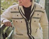 "No.213 Men's Crochet Pattern PDF Vintage Afghan Stitch Shawl Collar Cardigan - Retro Crochet Pattern - Instant Download - Sizes 36"" - 46"""