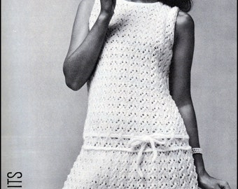 "No.87 PDF Vintage Knitting Pattern For Women - Lacy Flared Drop Waist Dress - Bust Sizes 32.5"", 34"", 36"", 38"" - Instant Download"