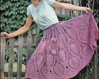 No.116 PDF Vintage Crochet Pattern Women's Pineapple Crochet Skirt & Poncho w/ Pompon Drawstring - Retro Crochet Pattern - Instant Download