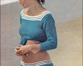 "No.126 PDF Vintage Knitting Pattern Women's Midriff Play Set - Retro Knitting Pattern - Instant Download - Bust Sizes 32.5"", 34"", 36"", 38"""