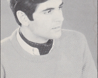 No.188 PDF Vintage Crochet Pattern Men's Pullover Sweater w/ Knit Rib Edgings - Instant Download - Finished Chest Size 44""