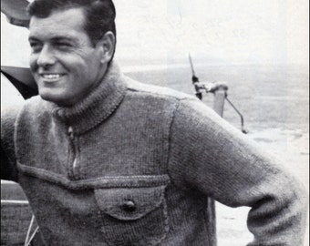 No.190 PDF Vintage Knitting Pattern Men's Aviator Sweater - Classic Design w/ Zip Up Collar - Retro Knitting Pattern - Instant Download