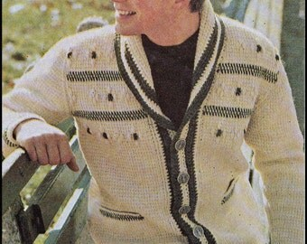 "No.213 Men's Crochet Pattern PDF Vintage Afghan Stitch Shawl Collar Cardigan - Retro Crochet Pattern - Instant Download - Sizes 36"" - 46"""