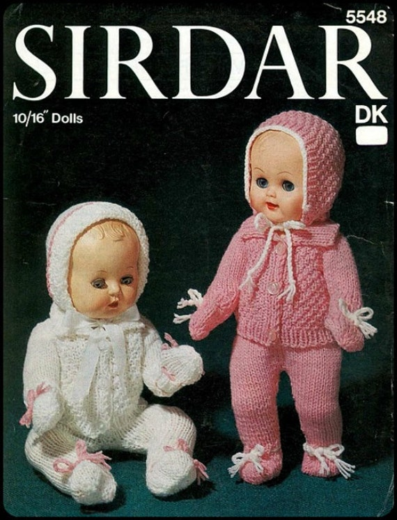 "No.8 PDF Vintage Knitting Pattern For 10"", 12"", 14"", 16"" Dolls - Sweater, Leggings, Bonnet - Retro Knitting Pattern - Instant Download"