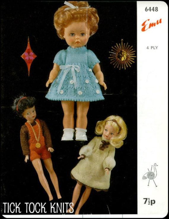 No.2 PDF Vintage Knitting Pattern For 14 Inch Dolls & 11 1/2 Fashion Dolls - Retro Knitting Pattern - Emu 6448 - Instant Download