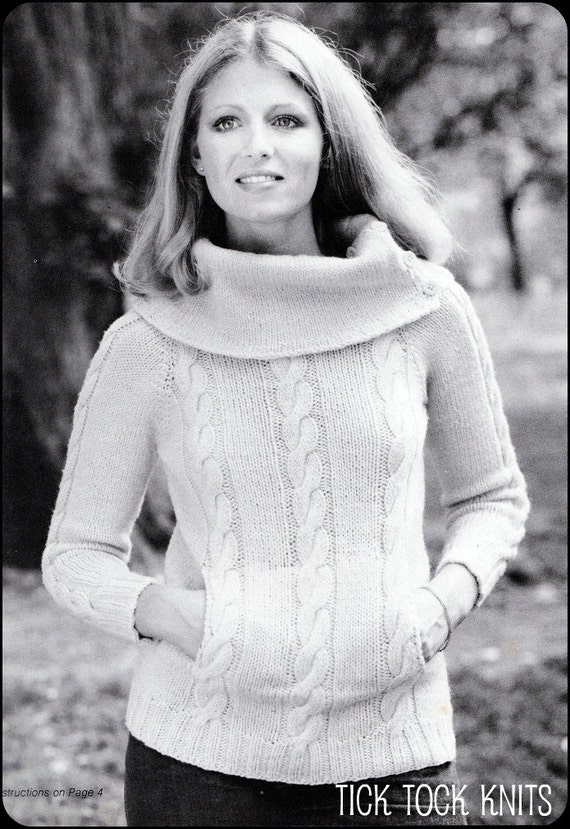 """No.40 PDF Vintage Knitting Pattern For Women - Cabled Cowl Neck Pullover Sweater - Instant Download - Bust Sizes 31.5"""", 32.5"""", 34"""", 36"""""""