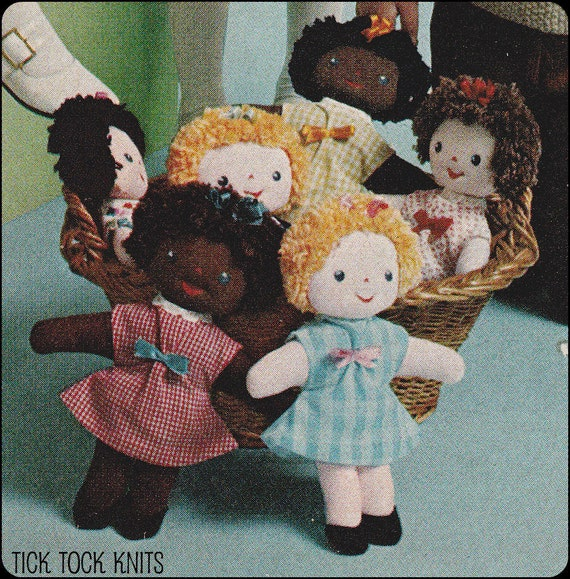 """No.136 Sewing Pattern PDF Vintage 10"""" Adorable Dolls - Soft Fabric Dolls W/ Dresses & Yarn Hair - Retro Sewing Pattern - Instant Download"""