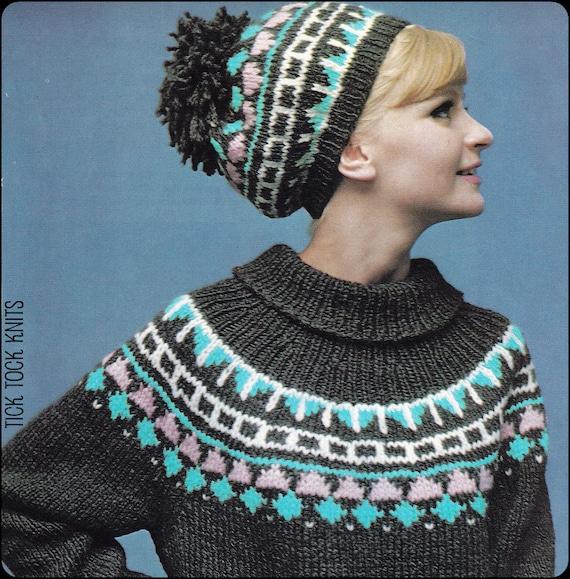 No.183 PDF Vintage Knitting Pattern Women's Fair Isle Ski Sweater ...