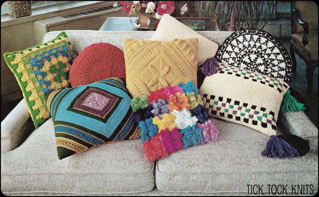 Knitting Patterns For Throw Pillows : No.112 PDF Vintage Crochet & Knitting Pattern Collection of