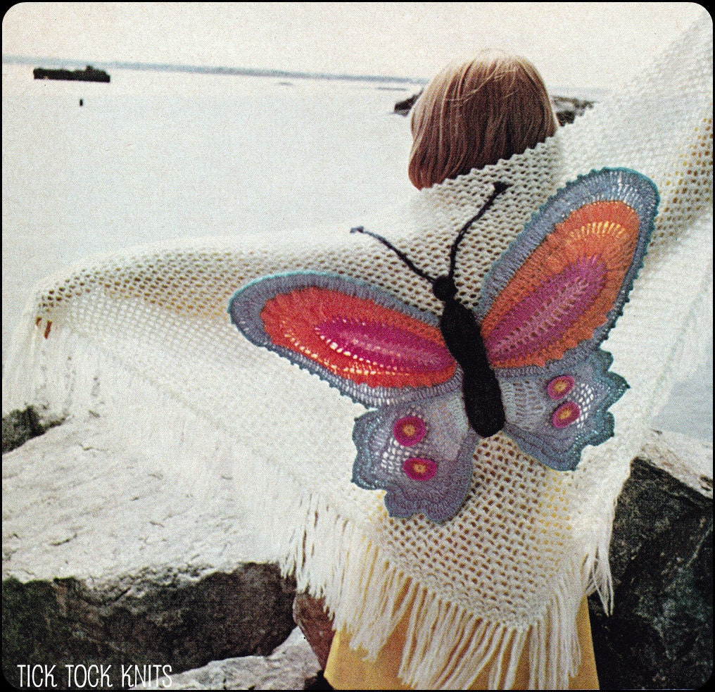 Free Crochet Pattern For Butterfly Shawl : No.142 PDF Vintage Crochet Pattern Womens Butterfly Shawl