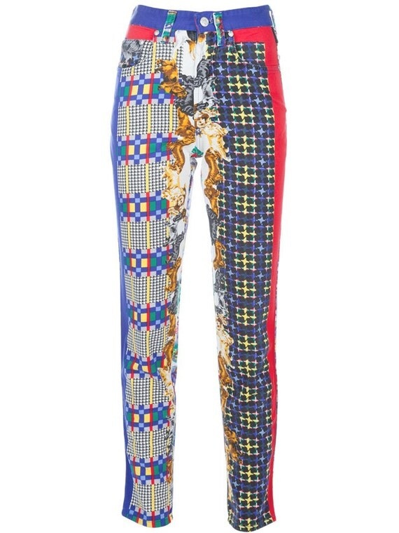 RESERVED GIANNI VERSACE Vintage Multicolored Jeans with Dog Print