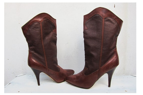 RESERVED Vintage Brown Leather High Heeled Boots