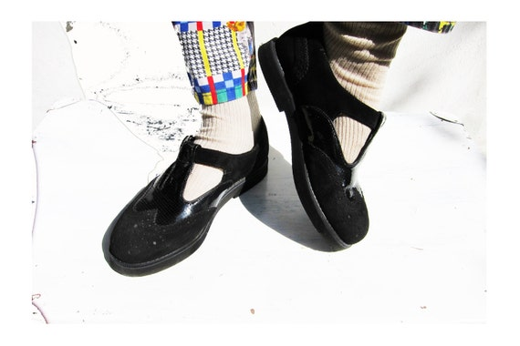 Vintage Creepers Sandals made of Suede and Patent Leather