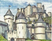 Fairytale castle art from the imaginary world of Catan: Cities and Knights. Board game art for sale.