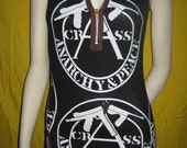 CRASS Anarchy & Peace DRESS zipper Crust Chaos Punk Hardcore OOAK XSmall