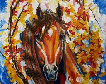 Horse art oil on canvas Original painting wild red horse fine fantasy palette knife abstract texture impasto signed