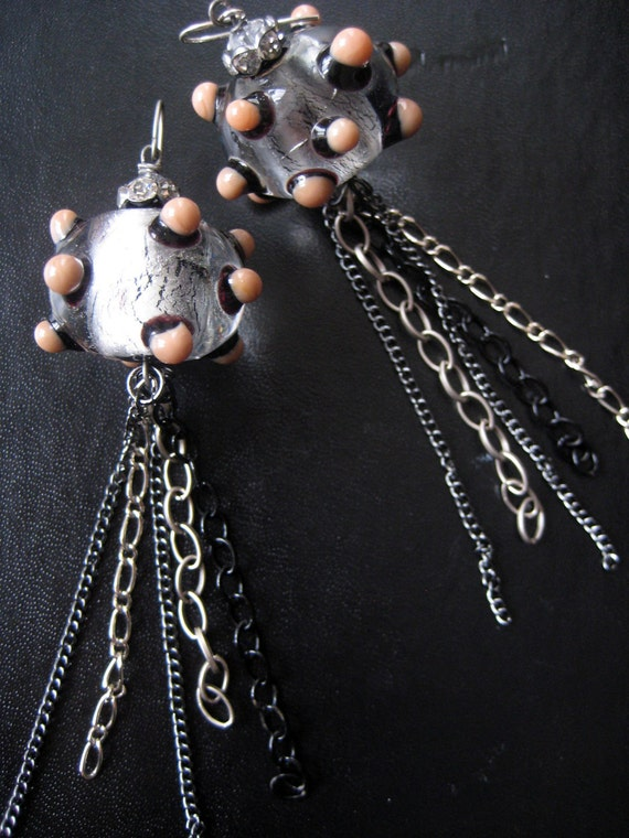 SALE- From the Deep Earrings - Lampwork Glass Bead and Chain Shoulder Dusters