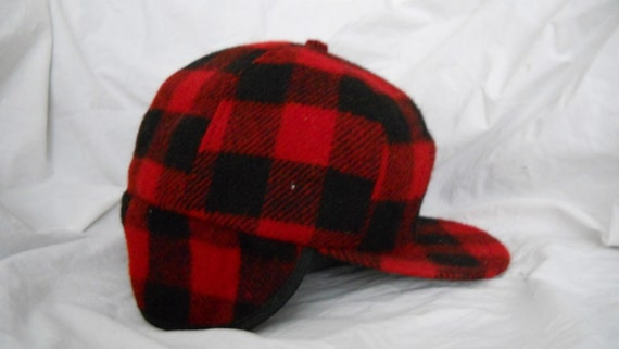 Men S Red Flannel Plaid Wool Winter Hat With Ear Flaps