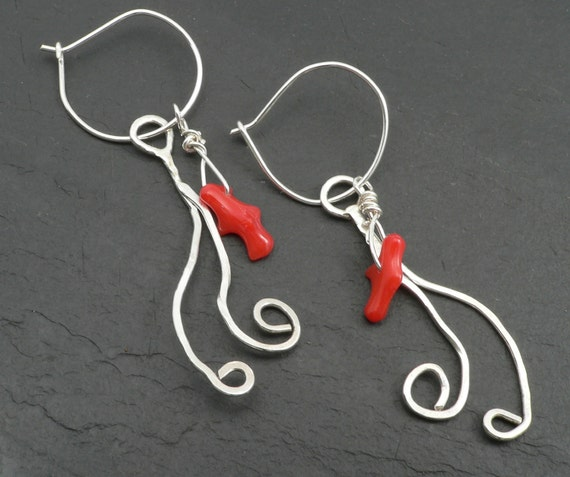 Swirling water Sterling Silver and Coral Earrings