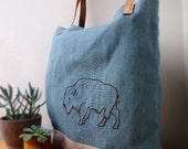 Embroidered Tote Bag , Bison Buffalo Hand Embroidered Leather and Linen
