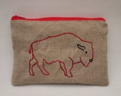 Embroidered Pouch Purse -  Embroidered Bison Zipped Gadget Pouch / Coin Purse