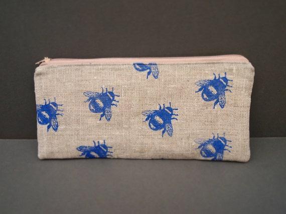 linen hand printed Bee zipped purse pouch pencil case cornflower blue