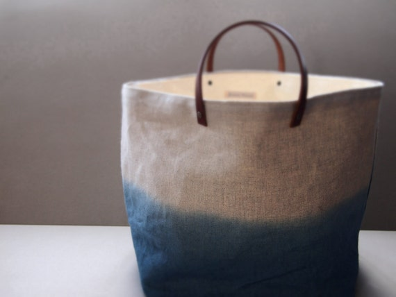 natural organic dip-dyed ombre blue Indigo linen fabric storage basket / box / hamper/ knitting/  LARGE size with leather carry handles