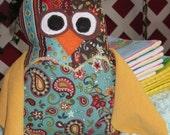 Stuffed Owl Toy in Aqua and Yellow