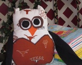 University of Texas UT Longhorns Stuffed Owl Lovie Plush Flannel Baby Toy Burnt Orange