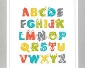 Alphabet Print with Animals - Orange, Yellow, Green, Blue, Gray - 11x14