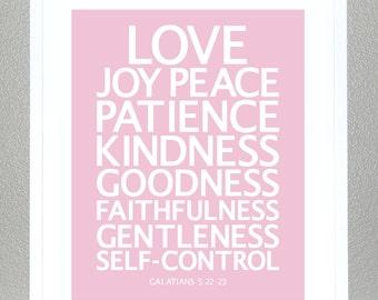 Girl Baptism gift - Love, Joy, Peace - (Pink) - Galatians 5:22-23