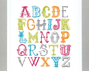 Alphabet Poster- 8x10 - Funky Letters