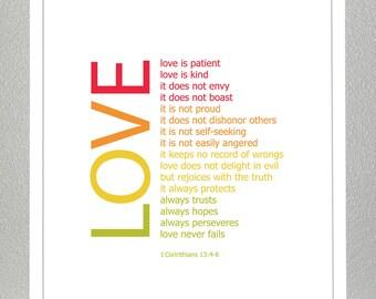 1 Corinthians 13:4-8 ( Rainbow Colors ) Print