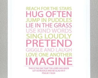 BE A KID - Pink and Green With Bible Verse Psalm 118:24 - 8x10