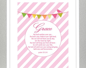 Baby Dedication - Baptism Gift - Bible Verse - Psalm 121: 5-8 - with custom name