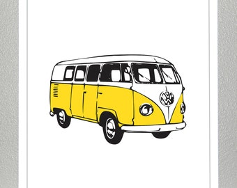 VW Van Print -Yellow- 8x10