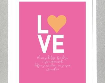 Nursery Decor -  Bible Verse - Jeremiah 1:5 - ( Bright pink and Orange )