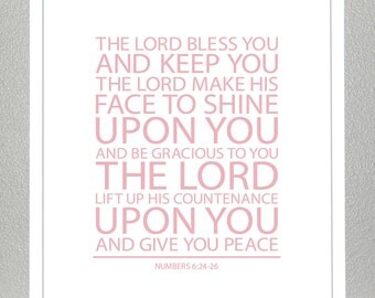 Baptism Gift - Bible Verse - Numbers 6 ( Light Pink ) - 8x10 Print