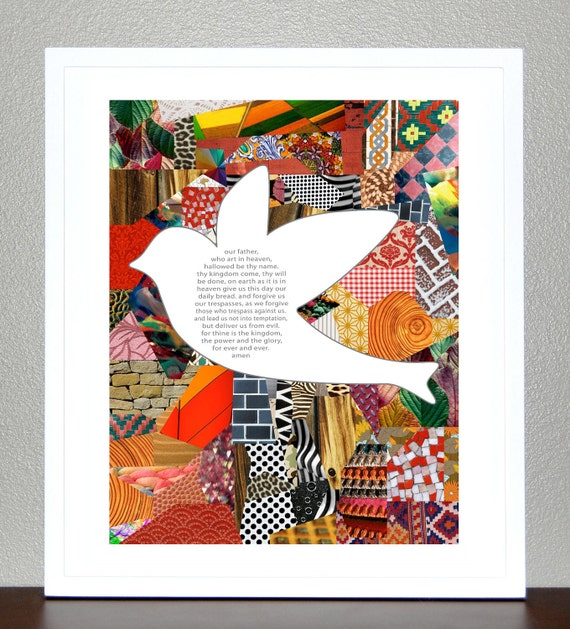 Confirmation gift - The Lords Prayer- Bird with Collage 8x10 Print