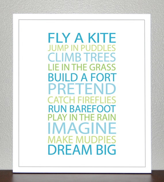 Prints for Kids - BE A KID-blue and green-11x14 - Print