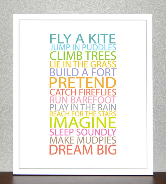 Nursery Decor - BE A KID - 8x10 Print