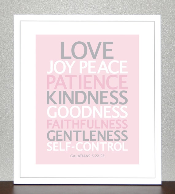 Nursery wall art - Bible Verse - Love, Joy, Peace (Pink, Gray, White) - Galatians 5:22-23