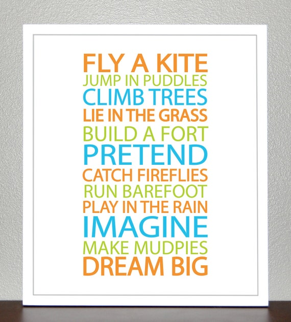 Boy Nursery - BE A KID -Turquoise, Orange, Lime Green - 8x10 Poster